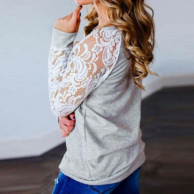 #R40 Lace Floral Splicing Shirt Blouses Women Gray O Neck Long Sleeve Shirts Blouse Tops Women Blusas Mujer De Moda 2020 2