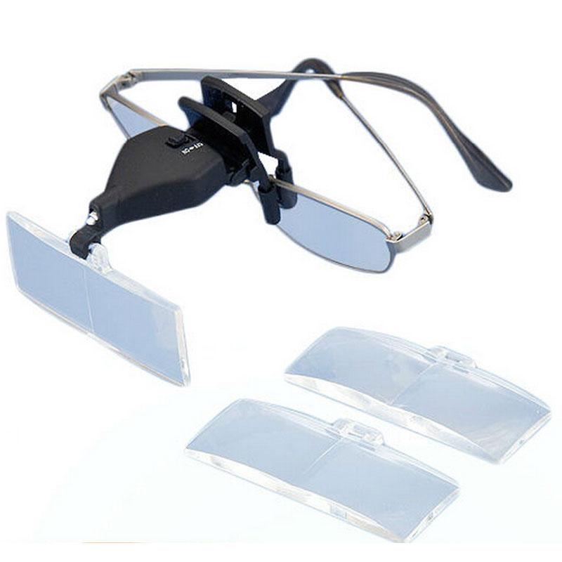 1.5X 2.5X 3.5X Beleuchtete Reparatur Lupe Gläser Clip lupe Mit LED Lanp und Drei Objektiv box 19157-2