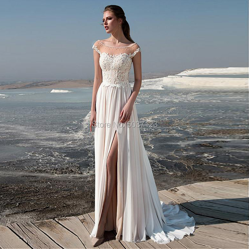 Cap Sleeve Chiffon A Line Wedding Dresses Beading Scoop High Slit Lace Appliques Bridal Gown Zipper Vestido De Noiva Court Train