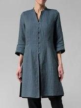 Blusa holgada informal de algodón con manga larga para verano y otoño, camisa holgada de talla grande con botones para mujer, cuello redondo