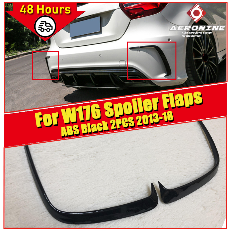 1 Pair Car Black ABS Rear Bumper Splitter Spoilers Canard for <font><b>Mercedes</b></font> for <font><b>Benz</b></font> <font><b>W176</b></font> <font><b>A200</b></font> A250 A45 for Amg 2013-16 Free shopping image