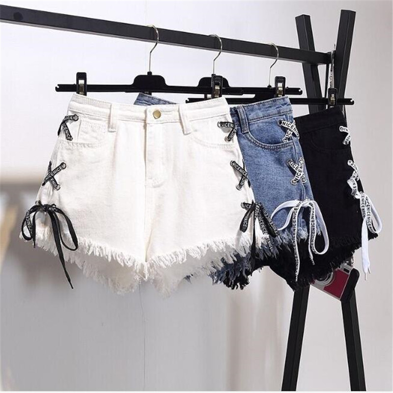 GAOKE Sexy Summer Women Denim Shorts 2020 New Black High Waist Ripped Short Jeans Femmen Side Lace Up Bandage Shorts New