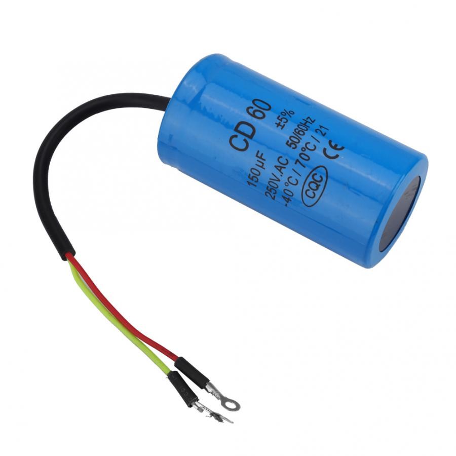 Run Capacitor 250V AC CD60 Capacitor 50//60Hz 150uF Motor Run Capacitor with Wire Lead for Motor Air Compressor