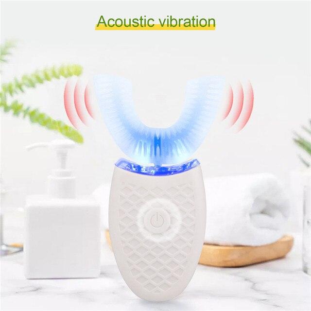 360 องศา NANO ไฟฟ้าแปรงสีฟันสีฟ้าแสงอัตโนมัติ Ultrasonic WAVE กันน้ำ U ประเภทฟันแปรงชาร์จ USB
