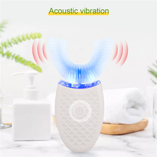 360 나노 전기 칫솔 블루 라이트 완전 자동 초음파 방수 U 형 칫솔 USB 충전