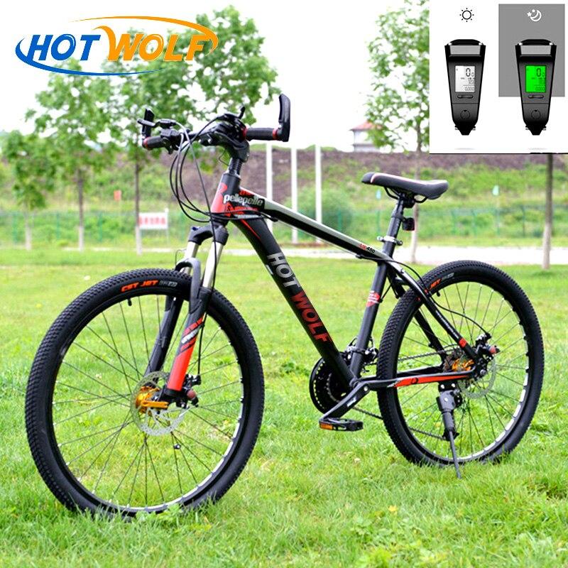 HOT WOLF 26inch Bike Велосипед Горный велосипед рама алюминий Взрослый велосипед Микрофон 27-скоростной велосипед Светодиодный дисплей Шоссейный ве...