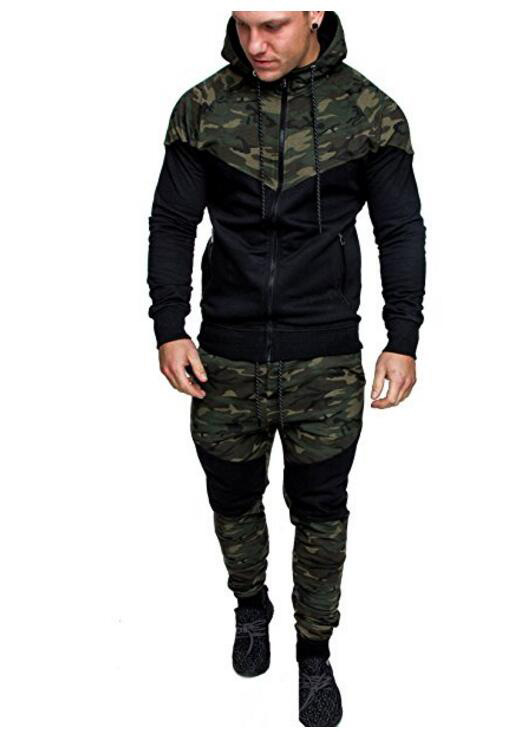 MEN'S WEAR 2018 New Style Fashion Camouflage Hooded Set Men's Casual Slim Fit Hoodie MEN'S Suit Fashion
