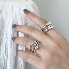 Silvology Multi-layer Weave Rings for Women 925 Sterling Silver Irregular Round Ball High Quality Korea Female Jewelry