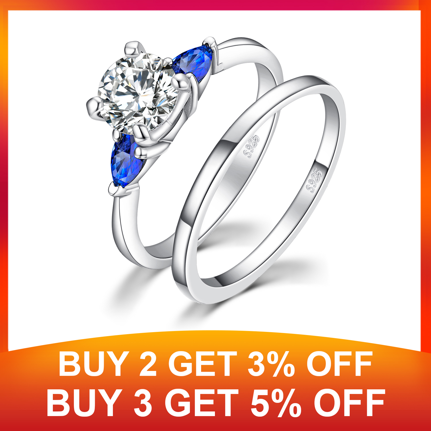 JPalace 3 Stone Created Sapphire Engagement Ring 925 Sterling Silver Rings for Women Wedding Rings Bridal Set Silver 925 Jewelry in Rings from Jewelry Accessories