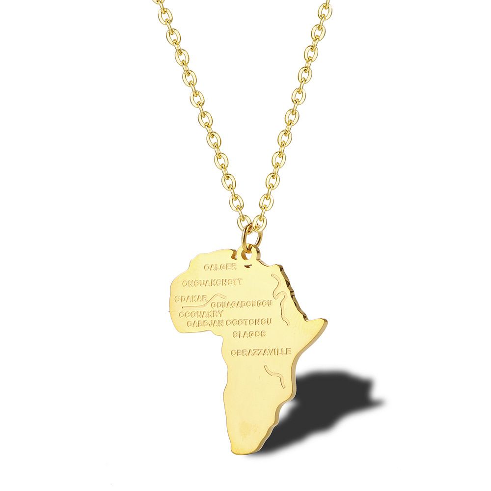 Legenstar Gold Africa Map Necklace Stainless Steel Pendant & Chain for Women Men Silver Fashion Hip-hop Jewelry Choker