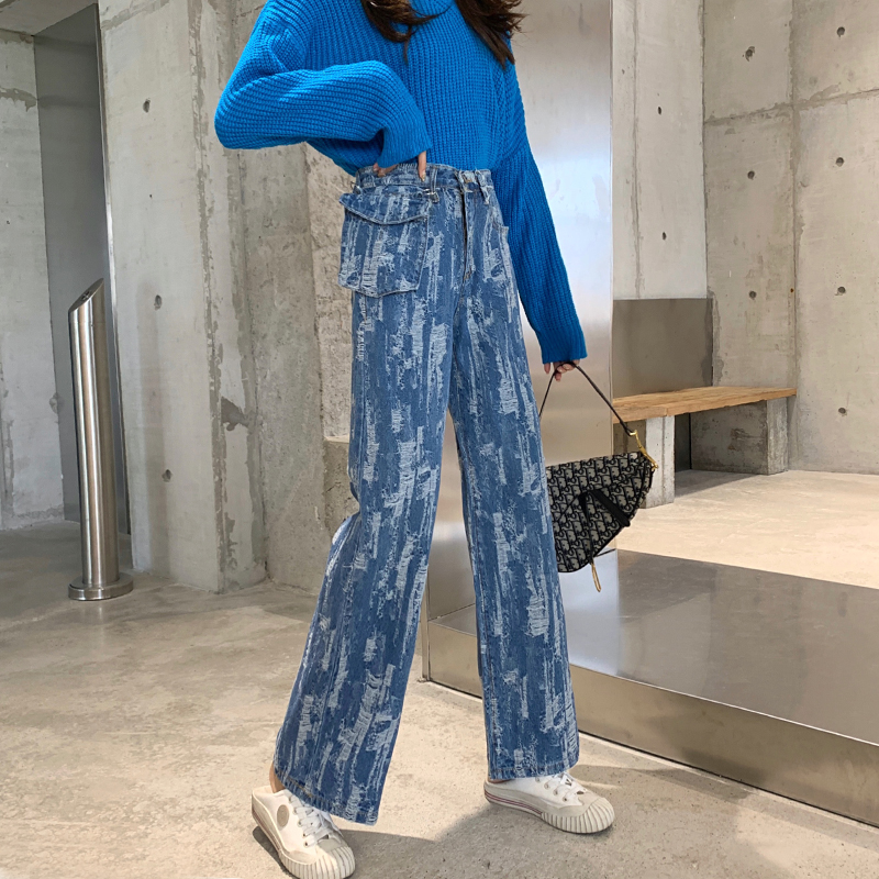 Autumn/winter Fashion Washing Hair Texture Of Tall Waist Covered Across Show Thin Wide-legged Jeans Xuan Straight Loose Pants Of