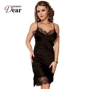 Image 3 - Comeondear Silk Satin Night Dress Lace Nightgown Women lenceria Sexy 5XL Plus Size Sleepwear Breathable Nuisette Femme RB80772