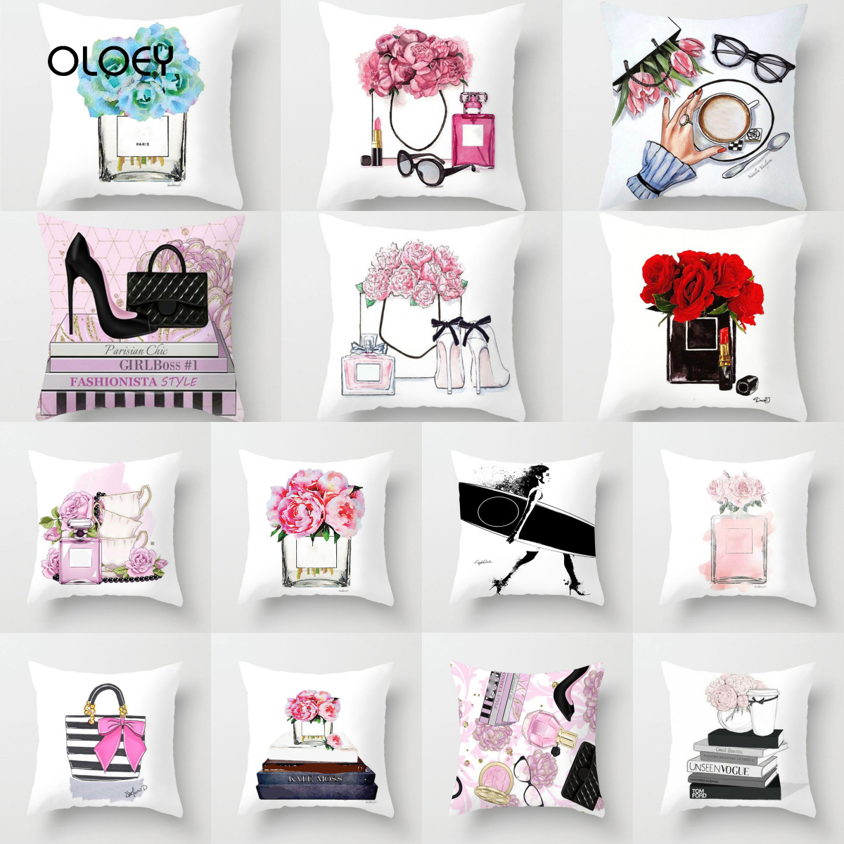 New Hand-painted Square Polyester Cushion Cover, Vase And Perfume, Home Bedroom Hotel Car Decoration Cushion Cover 45X45CM   ...