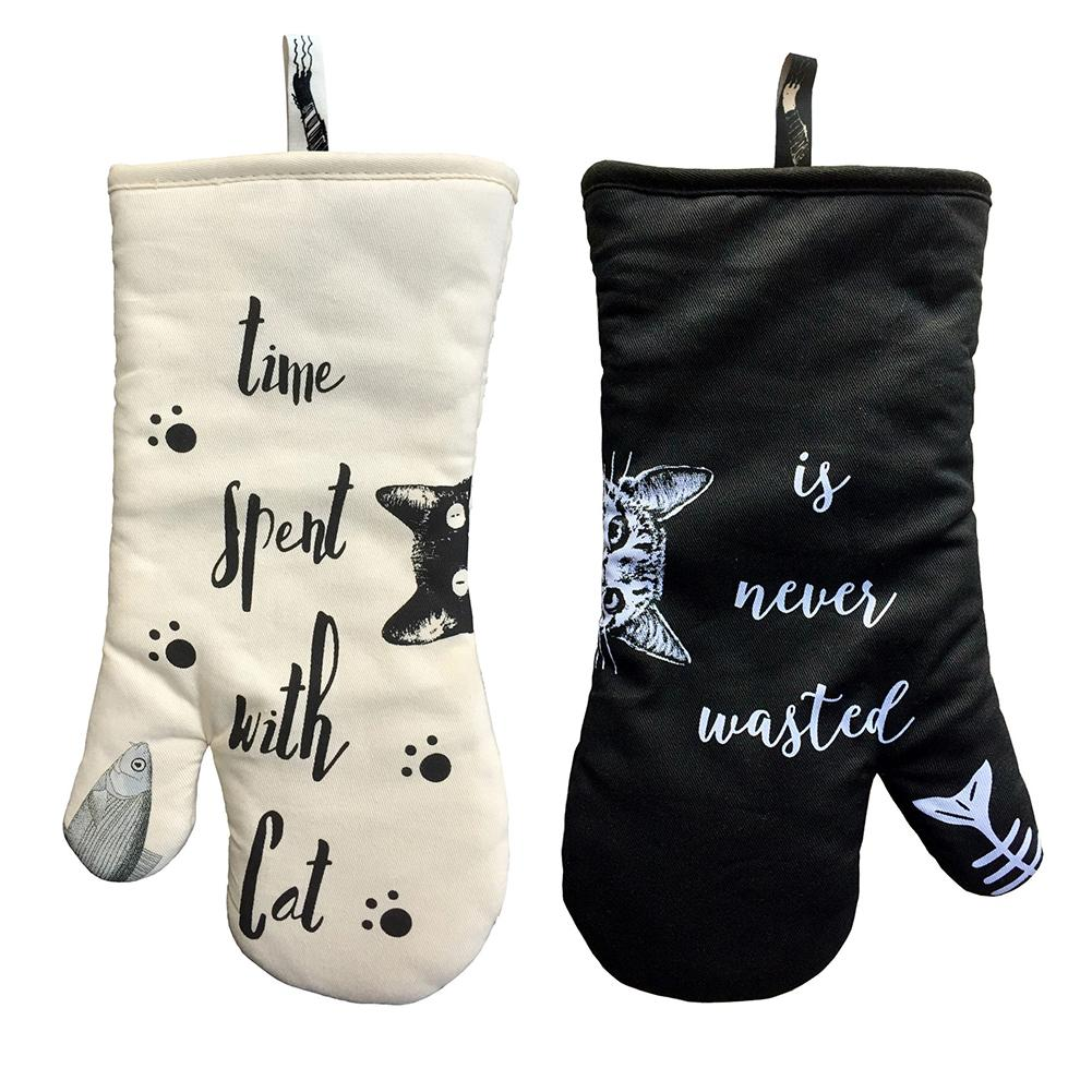 Ev ve Bahçe'ten Fırın Eldivenleri ve Fırın Kılıfları'de 1 çift pamuk kaymaz fırın eldivenleri mutfak mikrodalga anti haşlanma isıya dayanıklı kalınlaşmış yalıtım eldivenleri güzel kedi pişirme araçları title=