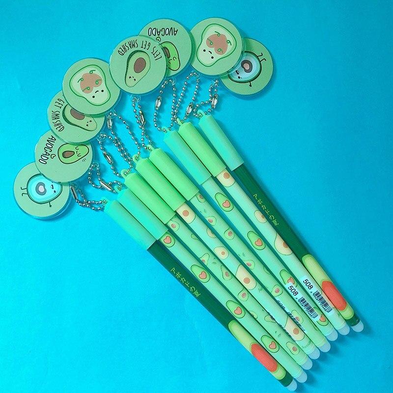 1Pc Cute Avocado Pendant Erasble Pen Kawaii Fruit Erasable Gel Pen Novelty Washable Magical Pen For Kids Gifts School Stationery