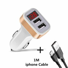 Good Car Charger Digital Display Dual Port USB Adapter 2 1A Car-charger Double USB for iPhone Huawei ZTE Xiaomi Phone Charging cheap XEDAIN 2 A Ports Car Lighter Slot ROHS USB Phone Car Charger Qualcomm Quick Charge 2 0 12-24V 2 4A Gold Silver Dual USB Port