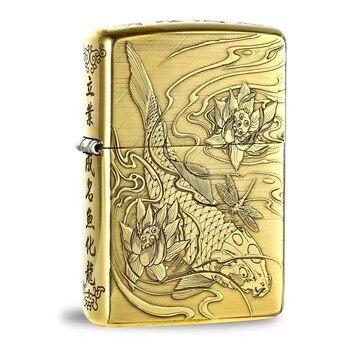 Free shipping windproof pure copper five kerosene lighter carved carp men's gift