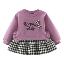 New Autumn Baby Girl Dress 0-3T Cute Toddler Letter Embroidery Plaid Pattern Girls Dresses Fashion Bow Decoration