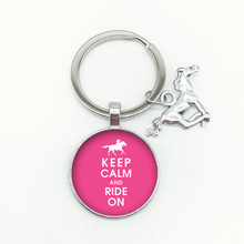Keep Calm Forward English Word Pattern Keychain Keep Calm Riding Charm Round Glass Pendant Keychain Men and Women Jewelry Gifts(China)