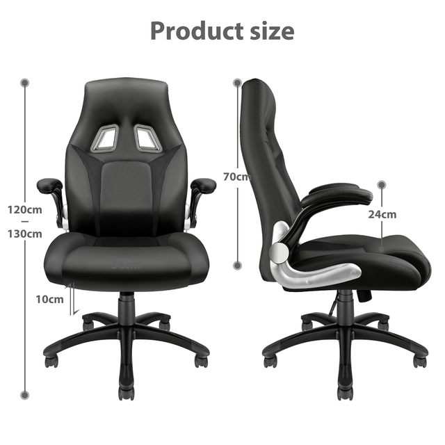 Furgle PU leather Office Chair 360° Swivel Gaming Chair with Comfortable Foam-padded Armrest Waterproof for Office Furniture 6