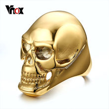 Vnox Big Skull Rings for Men Punk Rock Male Boy Ring for Halloween Party Hip-hop Ceremony Jewelry(China)