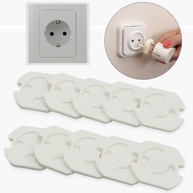 10 Pcs 2 Hole EU Power Sockets Plugs Cover Kids Electric Sockets Outlet Plug Baby Electricity Safe Protector Sockets Protection