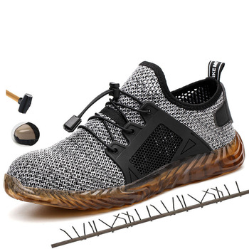 Men Sport Shoes Sneakers 2019 Breathable Mesh Sneakers Lace Up Steel Cap Toe Work Shoes Male Casual Shoes Mens Shoes