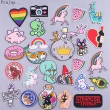 Prajna Cartoon Cute Embroidered Patches For Clothing Iron On Patches Stickers Stripes Cat Dinosaur Small Animals Patch Applique