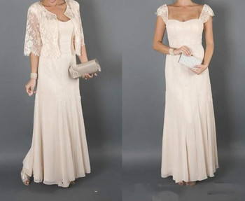 Elegant Champagne Colour With Jackets Mother of the Bride Dresses for weddings 2019 Formal Godmother Women Wear Evening gown
