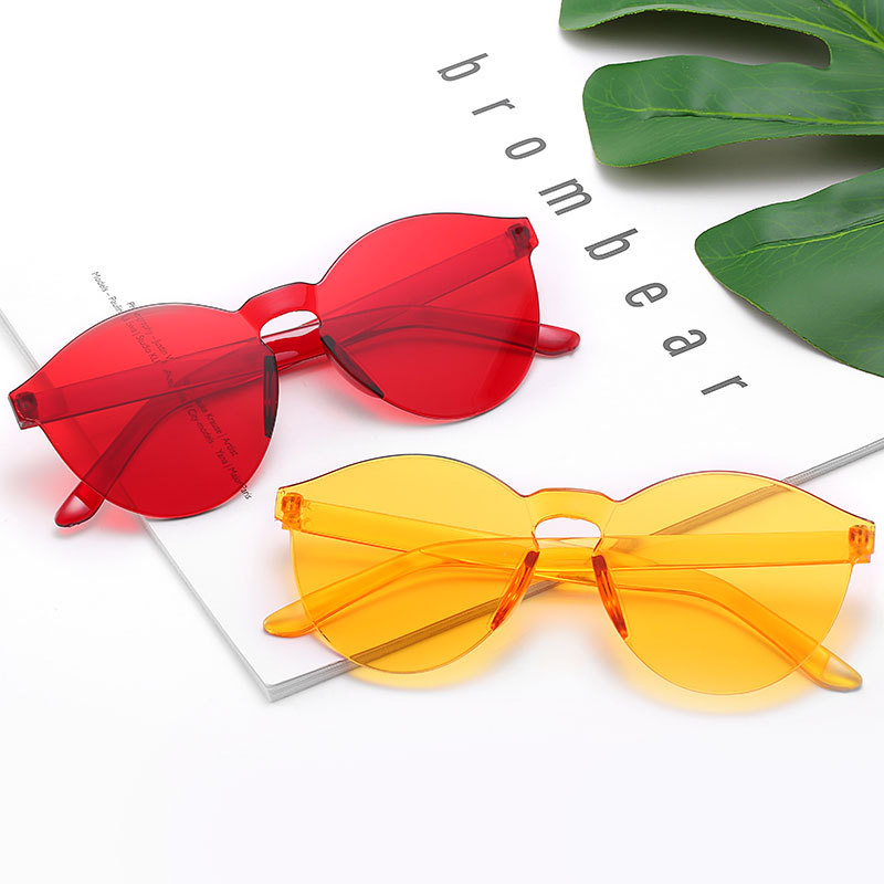 Frameless Jelly-colored Transparent Sunglasses Candy-colored Sunglasses All-in-one Ocean-chip Glasses