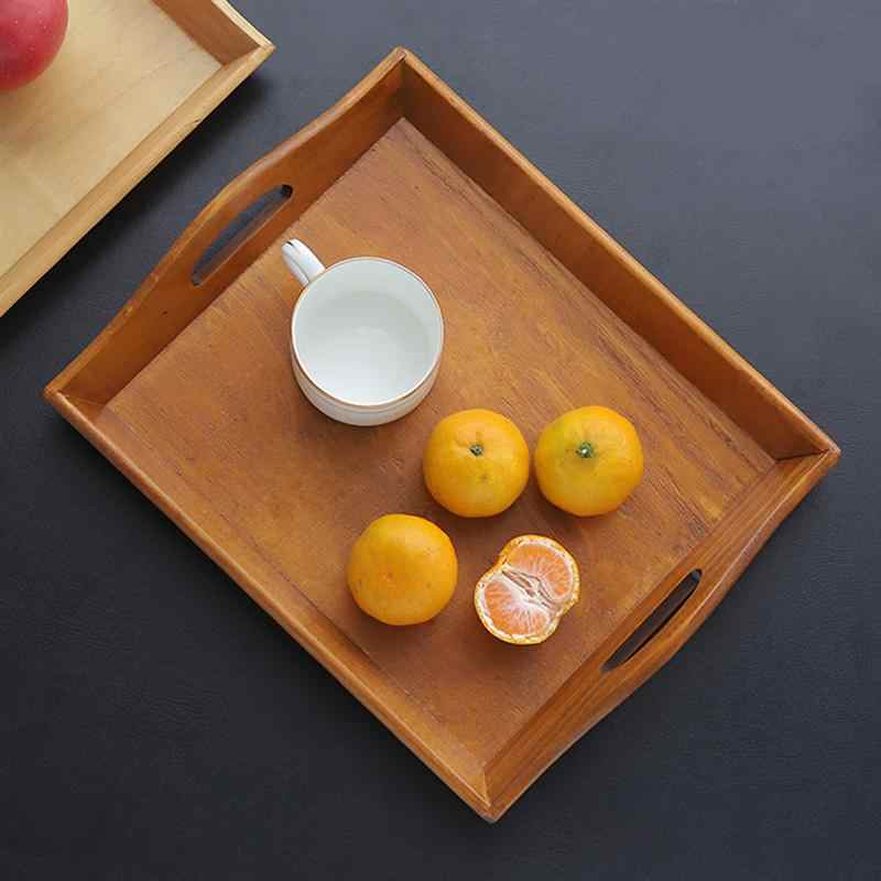 Multifunctionele Vintage Houten Lade Rechthoekige Decoratieve Teaboard Dienbladen Houder Voor Gebak Fruit Ontbijt