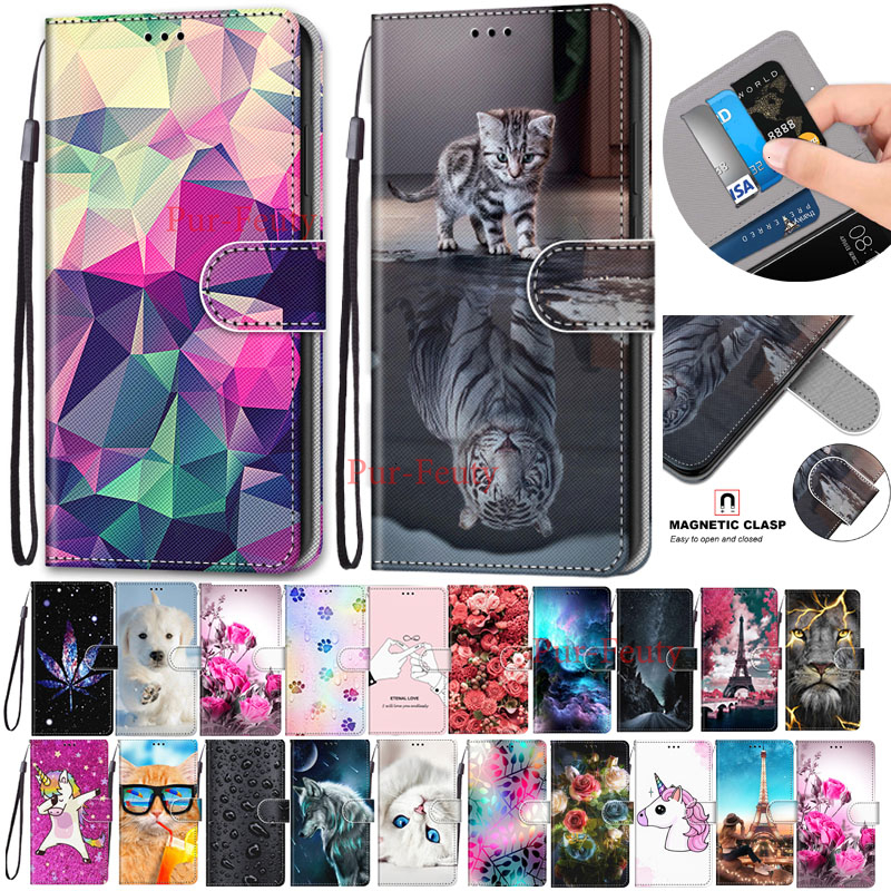 Flip Leather Case For <font><b>Samsung</b></font> Galaxy <font><b>A10</b></font> SM-A105FN SM-A105F case 3D Wallet Card Holder Stand Book Cover Lion Tiger Painted <font><b>Coque</b></font> image