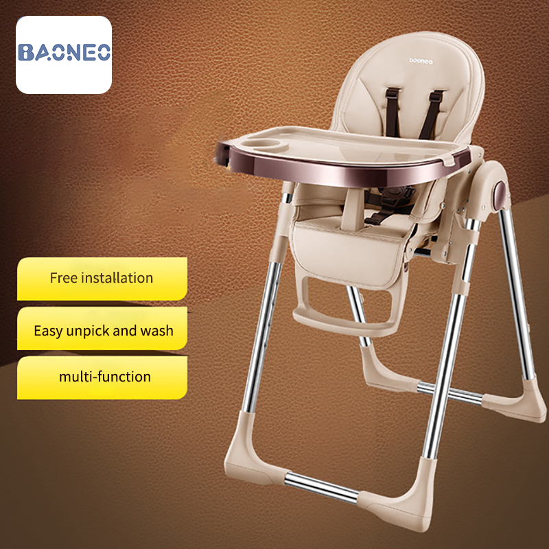 Infant Highchair Dining Chair Feeding Chair Booster Seat with Wheel Feeding Seat Foldable Portable Soft Height-adjust Furniture