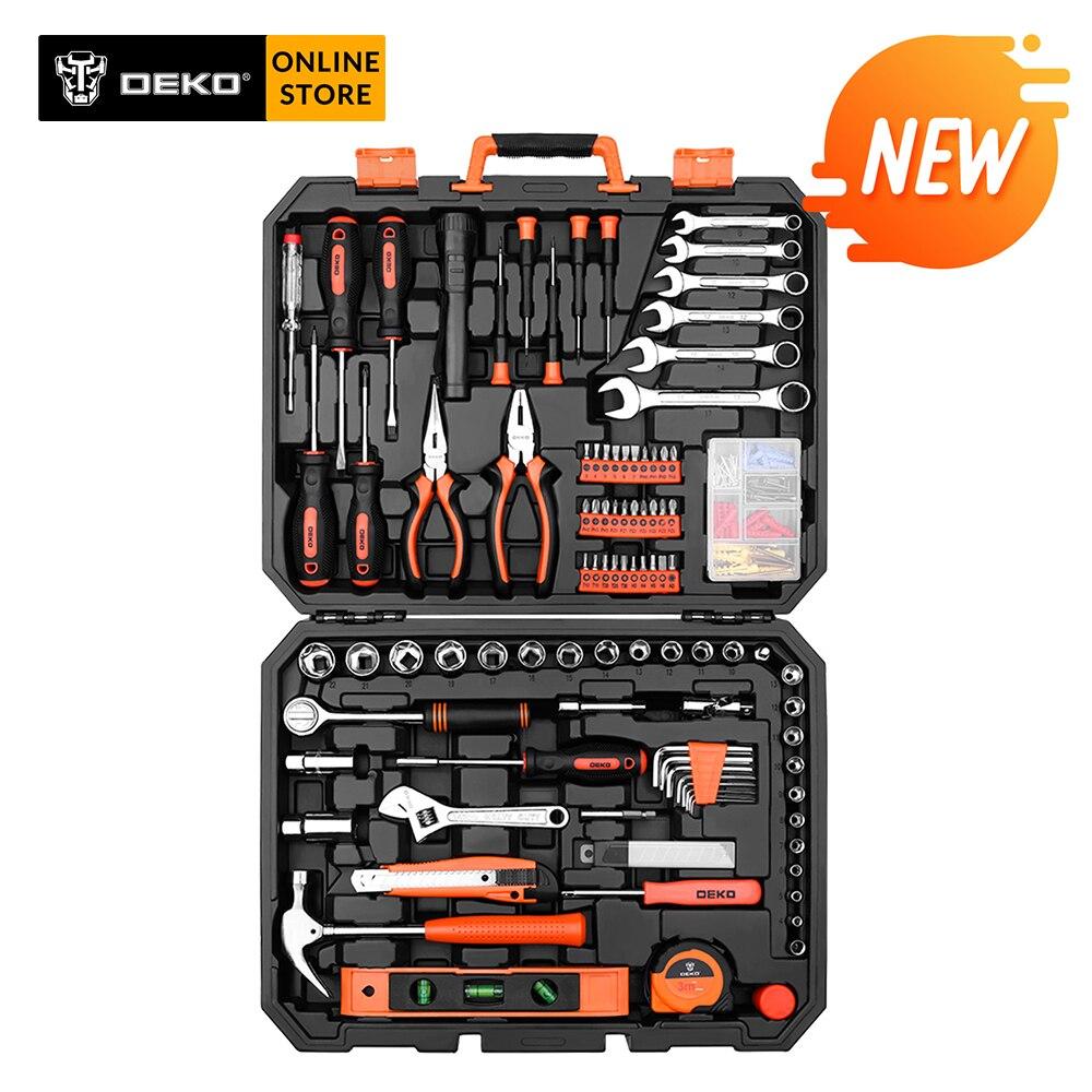 DEKO, 208 шт, профессиональный набор инструментов для ремонта автомобиля, автоматический Трещоточный гаечный ключ, отвертка, торцевые механические инструменты, набор W/Выдувная коробка