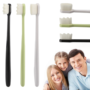 3 Colors Optional 1pc Portable Toothbrushes With Nano Ultra-fine Bristles Wave/Flat Teeth Head Travel Outdoor Use Oral Care Tool