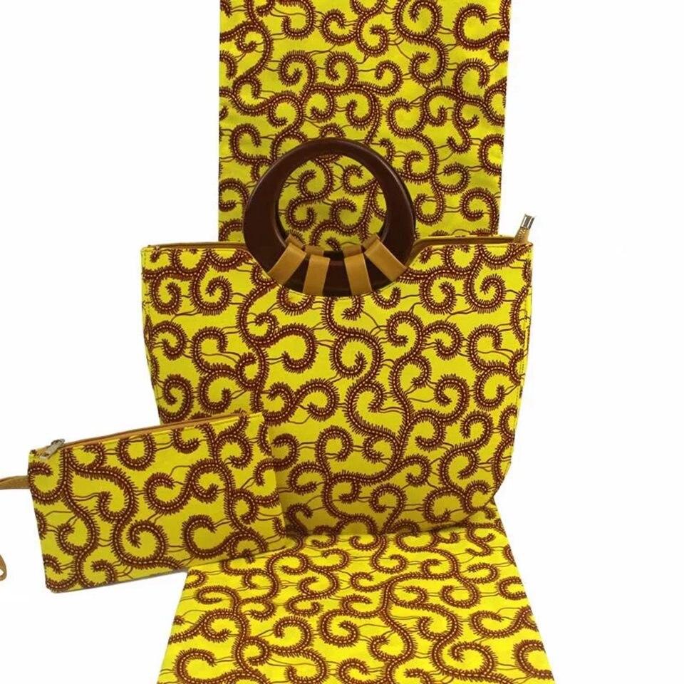 Ensemble de sac fourre-tout africain jaune + pochette à glissière Ankara avec tissu Ankara africain assorti pour les femmes YBGB-32