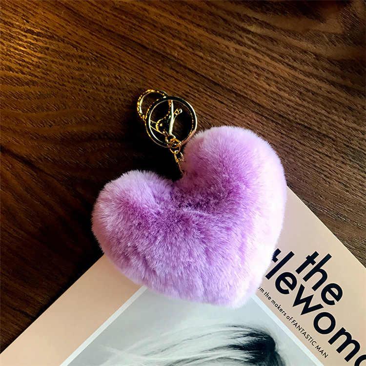 ขนสัตว์เทียม Keyring Multicolor เย็บ Love จี้ตุ๊กตาพวงกุญแจหัวใจ Rainbow Heart-รูปรถ Keyring