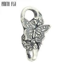 Echtes 925 Sterling Silber Armband Schmetterling Hummer Lock Vintage karabinerverschluss für Frauen Fit für Europäischen Charme Armbänder