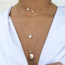 Vintage Multilayer Necklace Round Crystal Love Heart Coin Letter Pendant Female Brinco Combination Jewelry