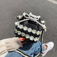 causal daisy floral rattan women shoulder bag wicker woven messenger crossbdoy bags summer beach straw bag lady small totes 2020 dusun summer hand woven straw bag ribbons bamboo package weaving bohemian holiday beach bag bow hollow female causal box totes