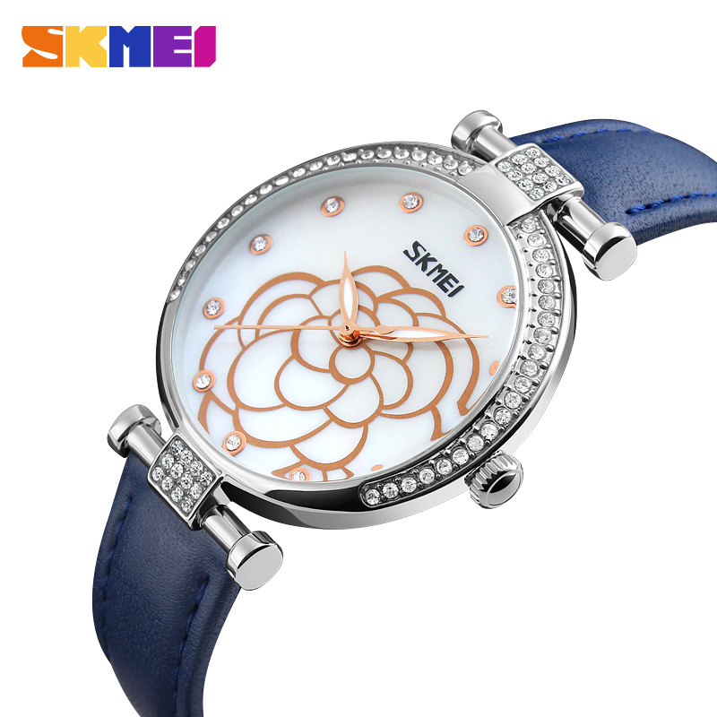 SKMEI Women Watches Leather Strap Ladies Quartz Wristwatch Luxury Brand Waterproof Casual Relogio Feminino 9145