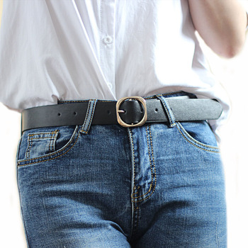 New Fashion Women Belt PU Leather Metal Square Pin Buckle Female Waist Strap Jeans Student Trousers Jeans Dress Waistband