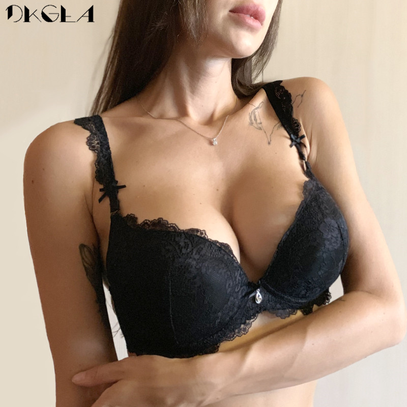 Classic Black Women Underwear Lace Embroidery Push up Bra Cotton Thick Brassiere A B C Cup Sexy Bras Adjustable Deep V Lingerie 1