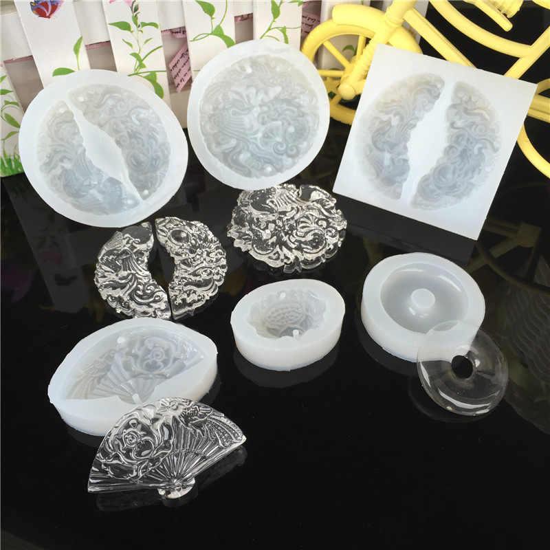 Лотос Складной вентилятор Нефритовая формочка для силиконовой Подвески эпоксидное ожерелье из смолы украшения делая инструменты DIY ручной работы