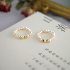 Image 2 - ASHIQI Fashion 3 4mm Mini Small Natural Freshwater Pearl Couple Rings for Women Real 925 Sterling Silver Jewelry for Women Gift