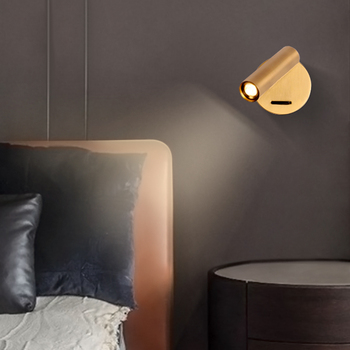 Lámpara de lectura de cabecera ZEROUNO montada en la pared luz LED de pared para interiores habitación de Hotel habitación cabecera libro lectura luz con interruptor