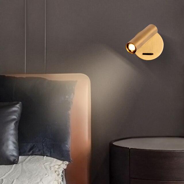 ZEROUNO duvara monte başucu okuma lambası LED duvar ışık kapalı otel misafir odası yatak odası başlık kitap okuma işık anahtarı ile