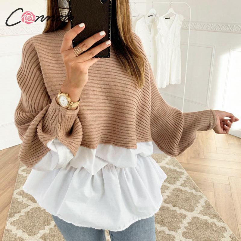 Conmoto Ruffles Patchwork Autumn Winter Sweater Jumper Women Streetwear Korean Harajuku Sweater Casual Blusas Sweater