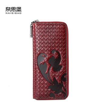 New women genuine leather bag designer brands wallets fashion woven pattern women embossing long wallets leather clutch bags