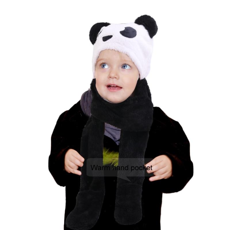 New Kids Teens Girls 3 In 1 Warm Plush Fluffy Cartoon Winter Hats Scarf Mitten Gloves With Pockets Hoodie Cap Kids Set